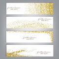 Golden glitter banner set. Tinsel shiny backdrops. Luxury gold template. Vector