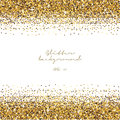 Golden glitter border background. Tinsel shiny backdrop. Luxury gold template. Vector