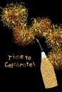 Golden glitter bottle celebrate card