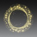 Golden glitter circle abstract background with sparkles, gold card design template