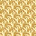 Golden glitter circle half style seamless pattern