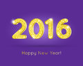2016 Golden Glitter Digits with Happy New Year Greeting Royalty Free Stock Photo