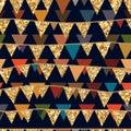 Golden glitter flag hang seamless pattern Royalty Free Stock Photo