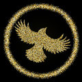 Golden glitter flying Bird on black background, template for ban Royalty Free Stock Photo