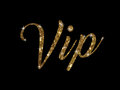 Golden glitter of hand writing word VIP