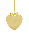 Golden Glitter Heart as Christmas decoration isolated on white