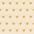 Golden glitter hearts on pink. Tiled abstract background. Endless tinsel shiny backdrop. Valentine's Day gold pat