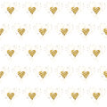 Golden glitter hearts on white. Tiled abstract background. Endless tinsel shiny backdrop. Valentine's Day gold pat Royalty Free Stock Photo