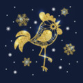 Golden glitter rooster and snowflakes on dark blue background. S Royalty Free Stock Photo
