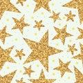 Golden glitter star seamless pattern