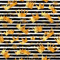 Golden glitter texture with hand draw black lines seamless pattern in gold style. Celebration metallic background.