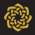 Golden glittering logo template in Celtic knots style