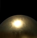 Golden globe detail of a glossy sphere in black back Stock Images