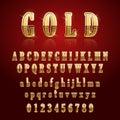 Golden glossy alphabet
