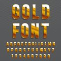 Golden glossy vector font or gold alphabet. Gold typeface. Metallic alphabet typographic illustration.