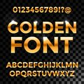 Golden glossy vector font or gold alphabet. Yellow metal typeface. Metallic golden abc, alphabet typographic luxury