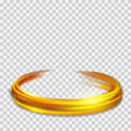 Golden glowing fire rings with glitters Royalty Free Stock Photo