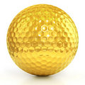Golden Golf ball isolated over white Royalty Free Stock Image