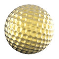 Golden golf ball isolated on white Royalty Free Stock Photo