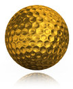 Golden golf ball on white background clipping path included Royalty Free Stock Photo