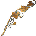 Golden grape branch with bunch of grapes and leaves. Winery desi