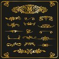 Golden graphic elements calligraphic vector sets for designers -