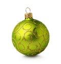 Golden green Christmas ball Royalty Free Stock Photo