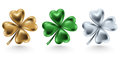 Golden, green and silver clover leaf isolated on white background, vector illustration for St. Patrick day