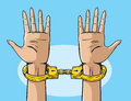 Golden handcuffs illustration of a pair of Royalty Free Stock Photo
