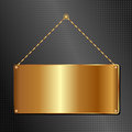 Golden hanging sign panel black background Royalty Free Stock Photography
