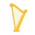 Golden harp icon in flat style design. Musical instrument symbol