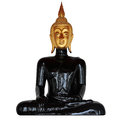 Golden head and black body of buddha statue isolated on white Stock Photos