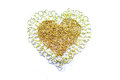Golden heart chain in the sign on white background Stock Photos