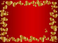 Golden heart frame Royalty Free Stock Photo