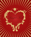 Golden heart on red background. Love concept Royalty Free Stock Photos
