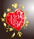 Golden heart with ruby Stock Images