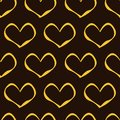 Golden hearts pattern on brown background seamless Royalty Free Stock Images