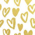 Golden hearts pattern glitter Valentine day white background Royalty Free Stock Photo