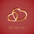 Golden hearts on pink background valentines with two illustration Stock Photography