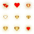 Golden hearts set of isolated wih rays Royalty Free Stock Images