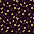 Golden hearts and stars seamless pattern. Fashion design print. Design elements for wedding, kid`s birthday or Valentine`s day.