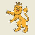 Golden heraldic lion regal with crown Royalty Free Stock Photos