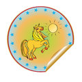 Golden horse sticker hand drawn illustration of a prancing cartoon multicolored isolated on white Stock Image