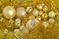 Golden сhristmas balls and garland