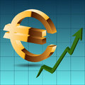 Golden icon euro on a blue background green arrow up eps vect Royalty Free Stock Image