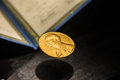 Golden image of the nobel prize a decorates front science museum in singapore nov Stock Photo