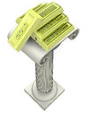 Golden ingot group on antigue column render illustration Royalty Free Stock Photography
