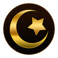 Golden Islam Symbol in Dark Brown Background