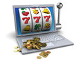 Golden jackpot d illustration of online concept Stock Images
