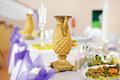 Golden jar on festive wedding table Stock Photography